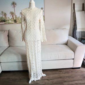 BOHO vintage crochet lace wedding dress